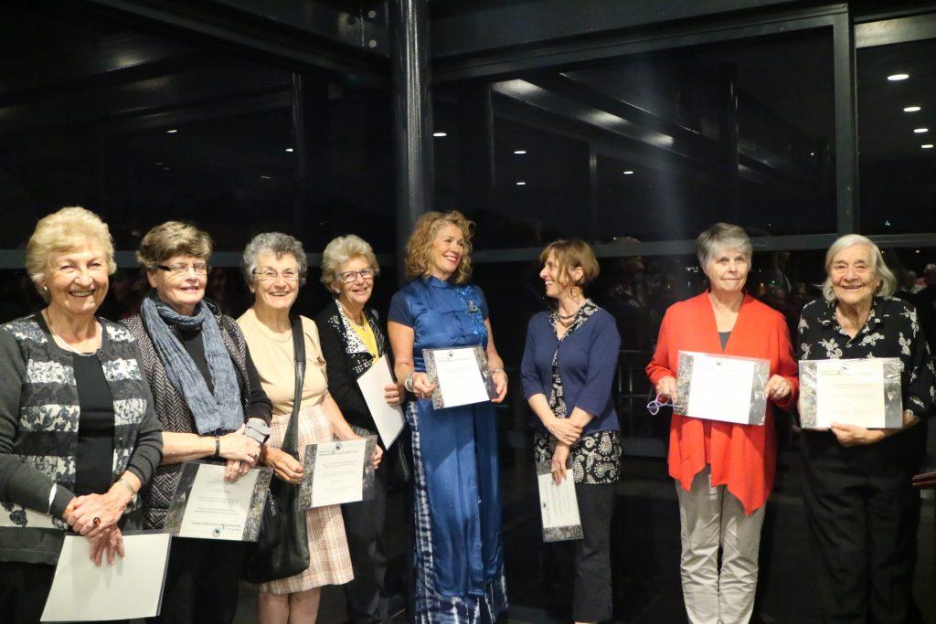 Left to Right: Norma Stuart, Margaret Bergomi, Frances Vissel, Yvonne Barber, Shauna Forrest, Lane Cove Officer, Vicky Lee, Lynne McLoughlin and Ros Baxter